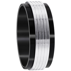 Stainless Steel Black IP Plated with Grey Stripes 9mm Band