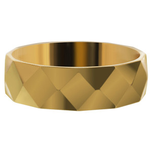 Stainless Steel Gold IP Plated Faceted Comfort Fit Band