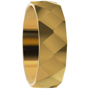 Stainless Steel Gold IP Plated Faceted Comfort Fit 6mm Band