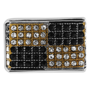 Stainless Steel Black Gold Checker Micro Pave Set CZ Ring