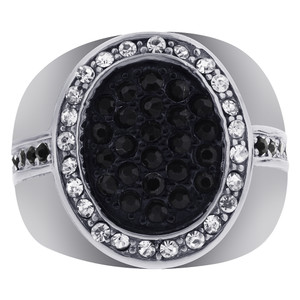 Stainless Steel Micro Pave Set Black and Clear CZ Ring