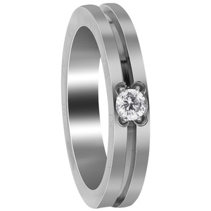 Stainless Steel Grooved Slim with CZ and Engraved Roman Numbers Ring