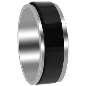 Stainless Steel 2 Tone with Black IP Plated 8mm Comfort fit Band