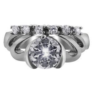 Stainless Steel Crown Design Cubic Zirconia Accents Ring
