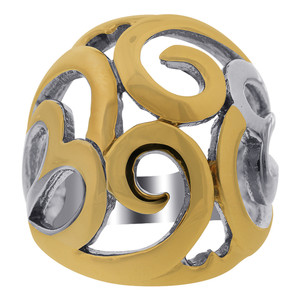 Stainless Steel 2 Tone IP Plated Swirl Pattern Ring #DSSSR073