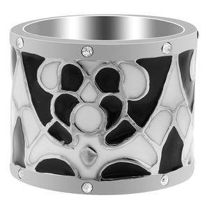 Stainless Steel Black & White Enamel with CZ 16mm Band