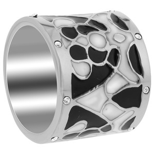 Black and White Enamel Cubic Zirconia Band
