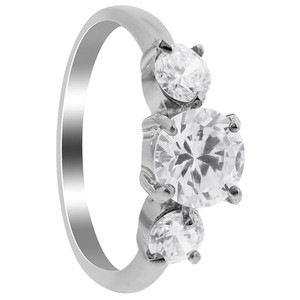 Stainless Steel Round Clear Glass Stone Ring