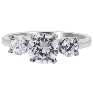 Stainless Steel Round Clear Glass Stone Ring #TSSSR015