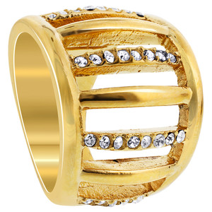Stainless Steel Gold Tone Clear Cubic Zirconia Ring