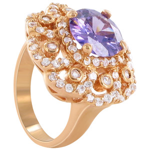 Rose Gold Layered Round Shape Purple Cubic Zirconia 3mm Flower Design Ring