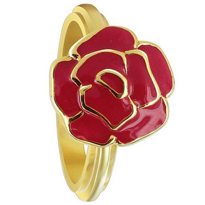 Gold Plated Silver 13mm Rose Flower Red Enamel Ring