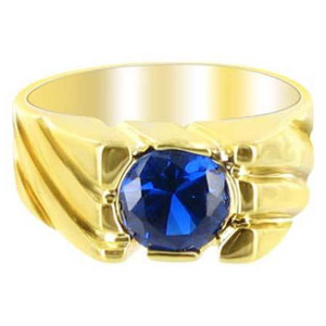 18k Gold Layered Blue Cubic Zirconia 8mm Round Ring