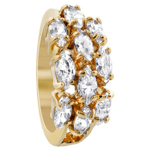 18k Gold Layered Marquise Shape 9 x 19mm Front Clear CZ Design Polished Finish Ring