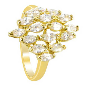 18k Gold Layered Clear Cubic Zirconia Marquise Shape 18 x 14mm Front Design Ring