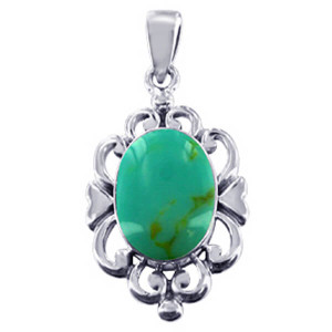925 Silver Oval Reconstituted Turquoise Filigree Pendant