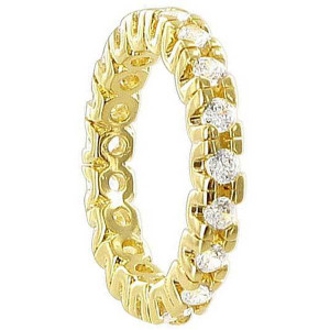 18k Gold Layered Clear CZ Round Wide Eternity Band