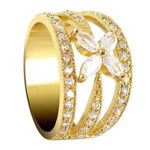 18k Gold Layered Marquise Shape Clear Cubic Zirconia Flower Accented Ring