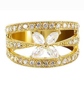 18k Gold Layered Marquise Shape CZ Flower Accented Ring