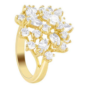 18k Gold Layered Clear Cubic Zirconia Studded Accented Designer Ring
