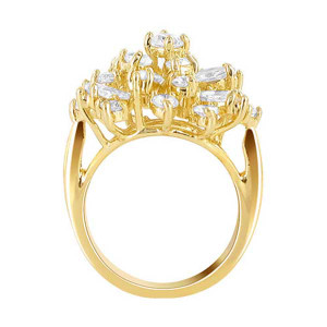 18k Gold Layered CZ Studded Accented Designer Ring