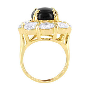 18k Gold Layered Clear CZ Round Flower Designer Ring