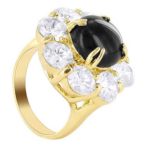 18k Gold Layered Clear Cubic Zirconia Round Flower Designer Ring