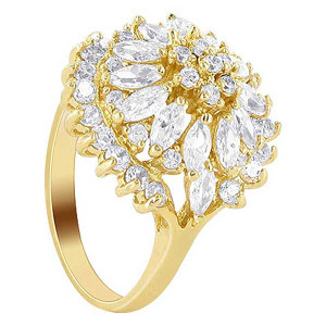 18k Gold Layered CZ Marquise Shape Studded Accent Ring