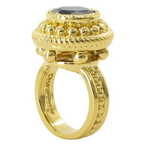 18k Gold over Sterling Silver Onyx Vermeil Ornate Design Ring