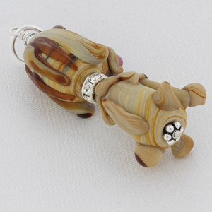 Silver Blown Glass and Cubic Zirconia Puppy Charm Pendant