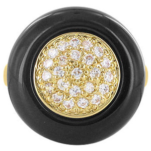 Gold Plated Pave Clear CZ Jet Black Enamel Ring
