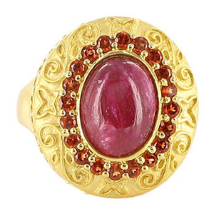 Gold over Silver Oval Dyed Ruby and Garnet Vermeil Ring
