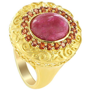Gold over 925 Sterling Silver Oval Dyed Ruby and Garnet Gemstones Vermeil Ring