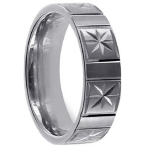 Mens Titanium Polished Finish Diamond 4mm Band
