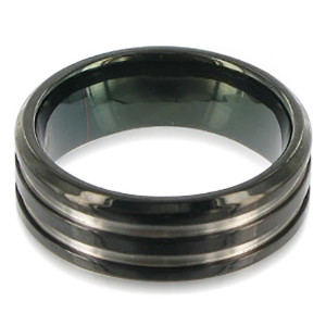 Titanium Polish Finish Black and Silver Band #DSRT007