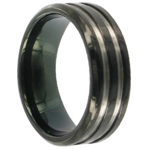 Titanium Polish Finish Black and Silver Band