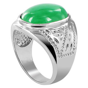 Mens Oval Green Gemstone Ring
