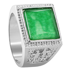 Mens Green Gemstone Square Ring