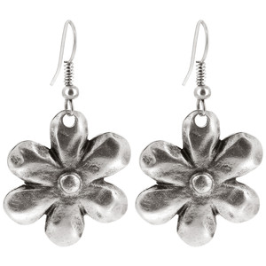 Zinc Flower Shape French Wire Dangle Earrings