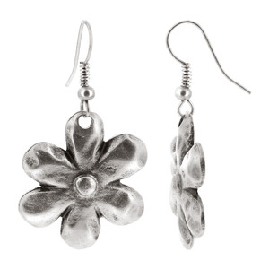 Zinc Flower Shape French Wire Dangle Earrings #LLER001