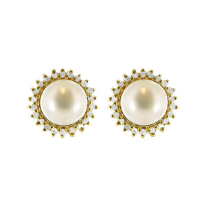 14k Gold White Pearl with Clear CZ Accent Post Earrings