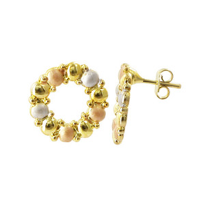 18k Gold Layered 16mm Round Three Tone Finish Stud Earrings