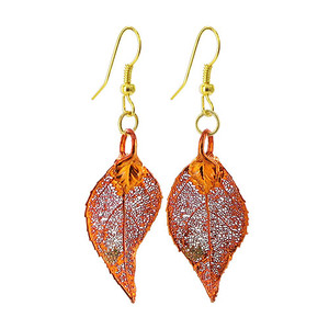 Iridescent Copper Plated REAL 1.2 x 0.6 inch Evergreen Leaf French Wire Dangle Earrings