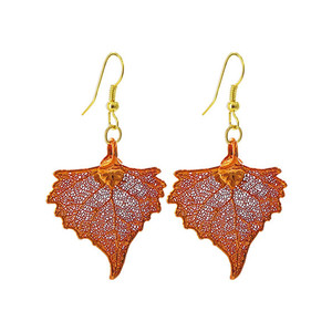 Iridescent Copper Plated REAL 1.2 x 1.1 inch Cottonwood Leaf Dangle Earrings