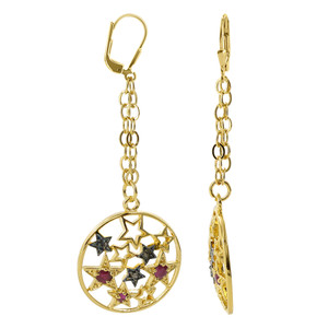 18k Two Tone Gold Vermeil Round 2mm Simulated Ruby Leverback Dangle Earrings