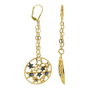 18k Two Tone Gold Vermeil Round 2mm Simulated Sapphire Leverback Dangle Earrings