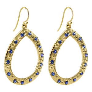 18k Gold Vermeil Round 2mm Blue Quartz Teardrop French-Wire Dangle Earrings
