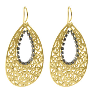 18k Gold Simulated Blue Sapphire Teardrop Dangle Earrings