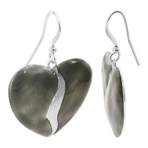 Metal with Two Tone Finish 1 inch Heart Dangle Earrings