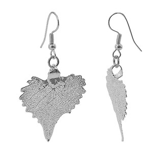 Silver Plated 1.3 x 1.4 inch Cottonwood Leaf French Hook Drop Earrings